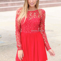 SPLENDED ANGEL 2.0 DRESS , DRESSES, TOPS, BOTTOMS, JACKETS & JUMPERS, ACCESSORIES, 50% OFF SALE, PRE ORDER, NEW ARRIVALS, PLAYSUIT, COLOUR, GIFT VOUCHER,,LACE,Red,LONG SLEEVES,MINI Australia, Queensland, Brisbane