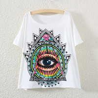 White Short Sleeve Eye Print T-Shirt