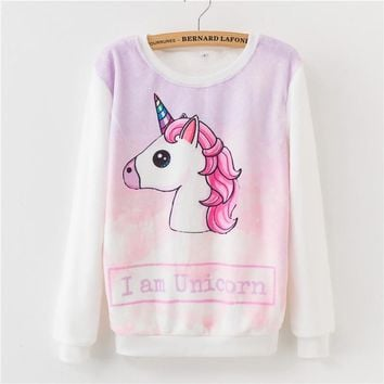 2018 Hot Fashion Women Warm Sweatshirt Unicorn  Printing Tracksuit Cotton Women's Flannel Winter Hoodies Pullover
