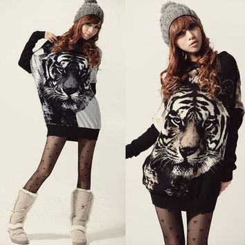 Korea Women Long Batwing sleeve Jumper Pullovers Tiger Print Sweater Top Blouse 18831 = 1946403652