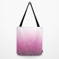 Ombre pink and white swirls zentangle Tote Bag by Savousepate