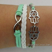Lucky hand Bracelet--silver 8 infinity wish and Hamsa Hand , Hand of Fatima bracelet--green wax rope and white Leather braided bracelet