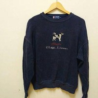 Ralph Lauren chaps dog sweatshirt Embroidery big logo RL vintage