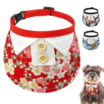 Adjustable Pet Dog Cat Bandana Collar Nylon Print Flower Neckerchief Scarf Pets Tie Accessories For Small Dogs Cats 3 Styles