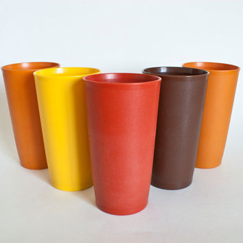 1960's Tupperware Harvest Color Tumblers, 12 Ounce Tupperware Plastic Juice Cups, Yellow Red Brown Orange, SET of 5
