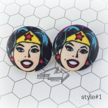 Wonder Woman Fabric Button Earrings