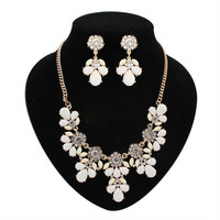 new big fashion jewerly sets sweet flower Necklace/Earrings sets candy color resin wedding jewelry set valentine gift women