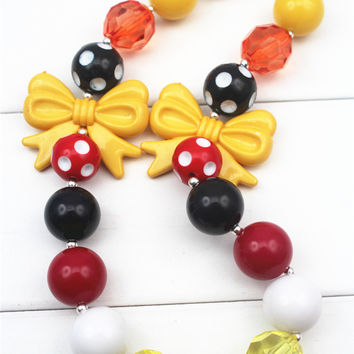 Girls Minnie Mouse Inspired Chunky Bead Necklace, Minnie Mouse Bubble Gum Necklace, Girls Jewelry, Adjustable Length, Bow Beads