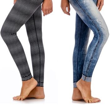Reversible Washed Denim Legging
