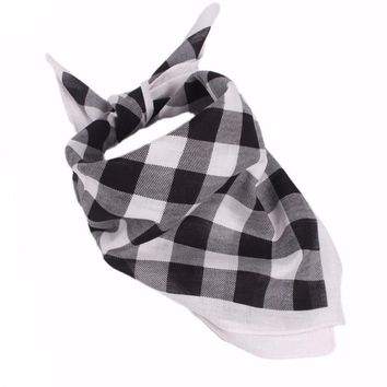 Cotton blended Women Men Plaid Bandanas Head Wrap Turban Hair Accessories Headband Ladies plaid square scarf #4-5