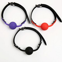 Rubber&Pu Leather Open Mouth Gag Ball For Women In Adult Games 3 Colors