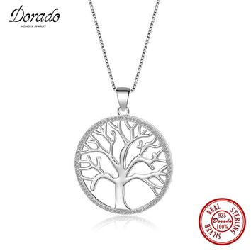 Dorado 925 Sterling Silver Necklace With Bling Bling Zirconia Life Of Tree Pendant Luxurious Jewelry Women Necklaces Collier
