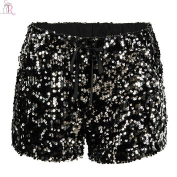 Black Sequined Drawstring Elastic Waist Shorts Slim Casual Bling-bling Streetwear Party 2016 Women Summer