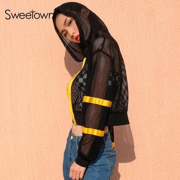 Cool Sweetown Plus Size Harajuku Coats And Jackets Streetwear Womens Black Cropped Long Sleeve Mesh See Through Gothic Hip Hop JacketAT_93_12