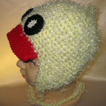 funny silly crochet Costume Hat Duck Animals Funny Earflaps Ties Fluffy Red Yellow Child kid baby Photo props 3,4,5 age Toddlers