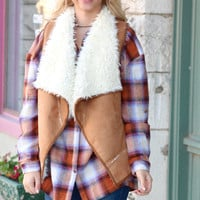 Out of the Woods Fur Shearling Vest {Camel}