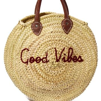 Straw Circle Bag - Good Vibes