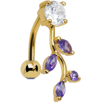 Gold Plated Top Mount Purple Gem Majestic Branch Leaf Belly Ring | Body Candy Body Jewelry