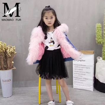 Children Real Fur Parka Winter Rabbit Fur Lining Denim Jackets Warm Baby Girl Natural Mongolian Sheep Fur Collar Kids Denim Coat