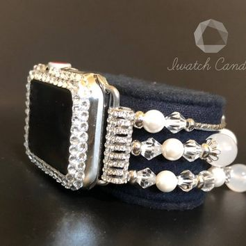 Apple Watch Band Womens 38mm Series 1, 2, 3 White Agate Rhinestone Crystal Bead Iwatch Candy Bling Band Only