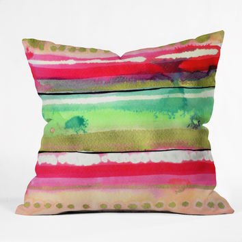CayenaBlanca Ink Stripes Throw Pillow