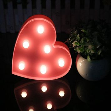 Romantic Love Heart Marquee Letter Night Light