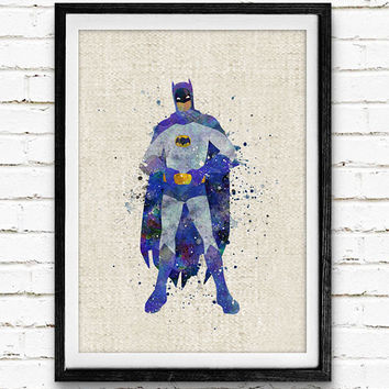 Batman Watercolor Poster Print, DC Comics Justic Leauge Superhero, Boys Room Wall Art, Home Decor, Not Framed, Buy 2 Get 1 Free!
