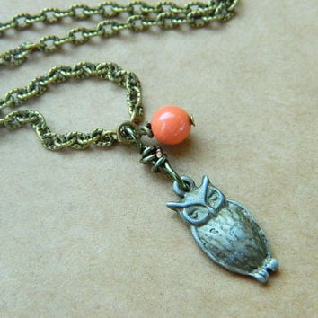 Owl Necklace Owl Charm Orange Coral Rustic Fall Drop by gabeadz