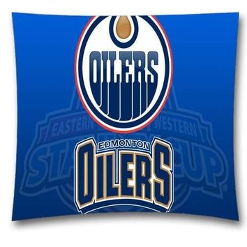 Hot Sale Zipperer Square Throw Pillows Cover Cushion Case Pillowcase with NHL Edmonton Oilers Pillow Case Twin Sides Design