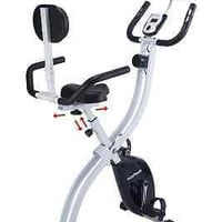 Folding Upright Exercise Bike W Backrest Tablet Holder Compact Health Fitness
