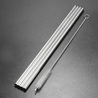 New 4 Pcs Metal Stainless Steel Drinking Straight Straws For Yeti 30oz Tumbler With 1pc Cleaning Cleaner Brush