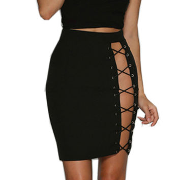 Summer 2017 Women High Waisted Lace Up Tie Stretch Pencil Slim Hollow Out Skirt Sexy Ladies Bodycon Fit Party Club Mini Dress