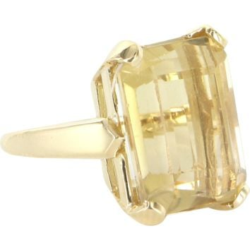 Vintage 14ct Citrine Cocktail Ring 14 Karat Yellow Gold Emerald Cut Pinky Ring Sz 4
