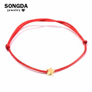 SONGDA Delicate Golden Lucky Star Bracelet Handmade Red String Macrame Braided Friendship Bracelets for Women Friend DIY Jewelry