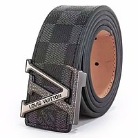 LV Louis Vuitton 2019 new classic monogram men and women models fashion simple wild smooth buckle belt Black Check Belt