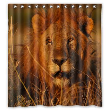 Custom Sunshine Wild Animal Lion Design  Fabric Curtain Bathroom Products Waterproof Shower Curtains 48x72, 60x72, 66x72 inches