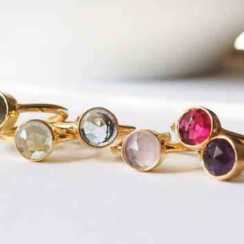 24K Gold Plated Sterling Silver bezel Adjustble Ring Gemstone Gold Bezel Ring Amethyst Topaz Rose Quartz