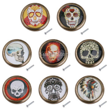 Skull Pattern Closet Door Round Knob Dresser Drawer Cabinet Cupboard Pull Handle Retro Decor