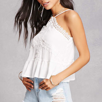 Shirred Lace Halter Top