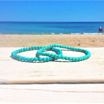 Simple Bracelet, Turquoise Couple Bracelets, His and Her Yoga Bracelets, Waterproof, Minimalist, Matching Bracelet, Friendship, Relationship
