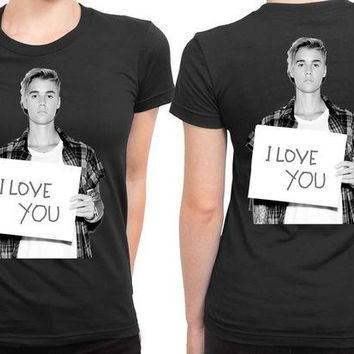 DCCKL83 Justin Bieber I Love You 2 Sided Womens T Shirt
