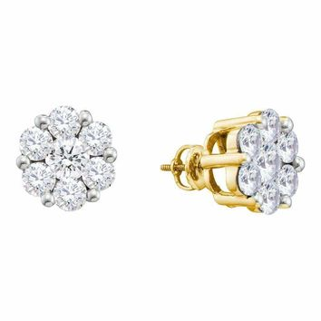 14kt Yellow Gold Women's Round Diamond Large Flower Cluster Stud Earrings 1-1-2 Cttw - FREE Shipping (US/CAN)