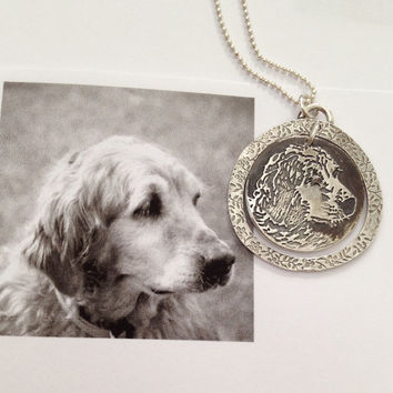 Dog Portrait Necklace - Silver Handmade Art Jewelry by SurfingSilver - Custom Made to Order