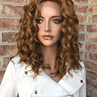 "Honey Blonde Wavy Human Hair Blend Multi Parting Lace Front Wig 12"" - Marilyn"