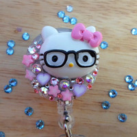 Sale ID badge holder-Purse clips Keychain - Hello kitty Nerd Glasses & Swarovski Crystals Retractable Bling Reel