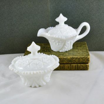 Covered Creamer Sugar Kemple Milk Glass Yutec Pres Cut Sawtooth Edge Vintage White Shabby Cottage Rare Tec McKee Mold