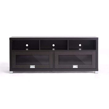 Swindon Modern TV Stand with Glass Doors By Baxton Studio