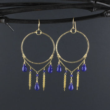 Lapis Chandelier Earrings/Deep Blue Stone Hoop Dangle Earrings in Gold/Gold Fill Hammered Frontal Hoop Earrings with Dangling Lapis Lazuli