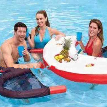 4 persons inflatable water bar 170x75cm with 4 chairs and foot pump