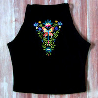 Boho Floral Crop Top-Music Festival Crop Top-Embroidered Boho Top-American Apparel